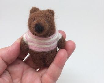 Needle Felt Bear Brooch