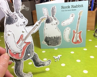 Rock Guitarist Rabbit Cut Out Figure Greetings Card