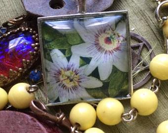 SALE! Passionflower Square Glass Cabochon Pendant
