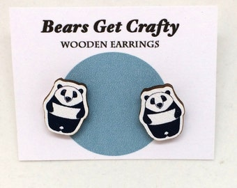 Panda Bear Wooden Earrings
