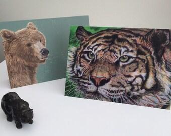 Brown Bear or Tiger Greetings Cards