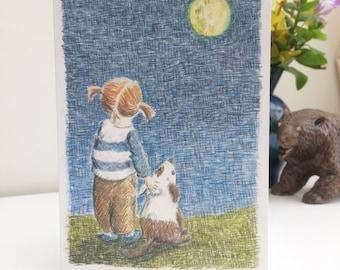 Moon Gazing Girl Greetings Card