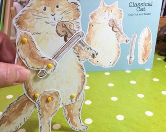 Cut Out and Make Poseable Cat and Fiddle Card