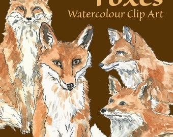 Foxes Hand Painted Watercolour Clip Art Digital Download