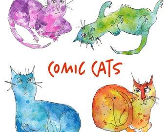 Inky Comic Cats Clip Art