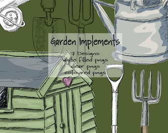Gardening Tools Line and Coloured Digital Drawings