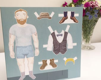 Dress Up Doll Bearded Hipster Man Greetings Card