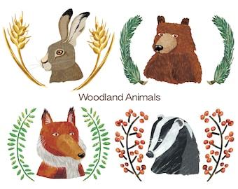 Woodland Animals Digital Download Art