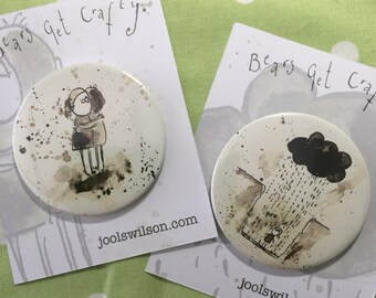 Hole or Hug Inky Illustration Badge, Mirror or Magnet