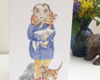 Cat Lady Greetings Card