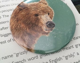 Grizzly Bear Badge, Pocket Mirror or Fridge Magnet