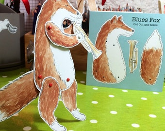 Poseable Blues Fox Cut Out and Make Greetings Card
