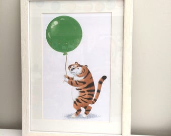 Tiger with Balloon Printable Picture and Card
