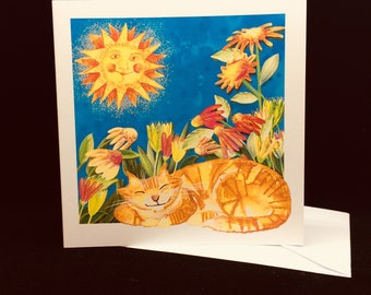 Ginger Cat and Sunshine Greetings Card