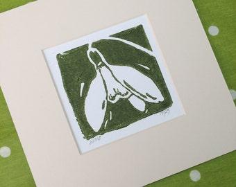 Snowdrop Lino Print