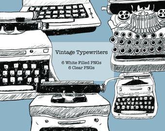 Vintage Typewriters Line Drawings
