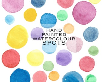 Multicoloured Hand Painted Water Colour Dots