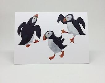Dancing Puffins Greetings Card