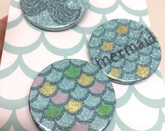 Set of 3 Glitzy Mermaid Badges