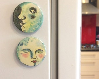 Moon Faces Badges or Magnets