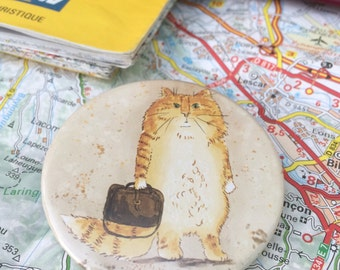 Travelling Ginger Cat Badge, Pocket Mirror or Fridge Magnet