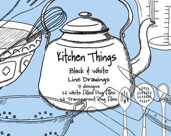 Kitchen Things Digital Line Drawings