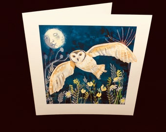 Owl and Moon Greetings Card