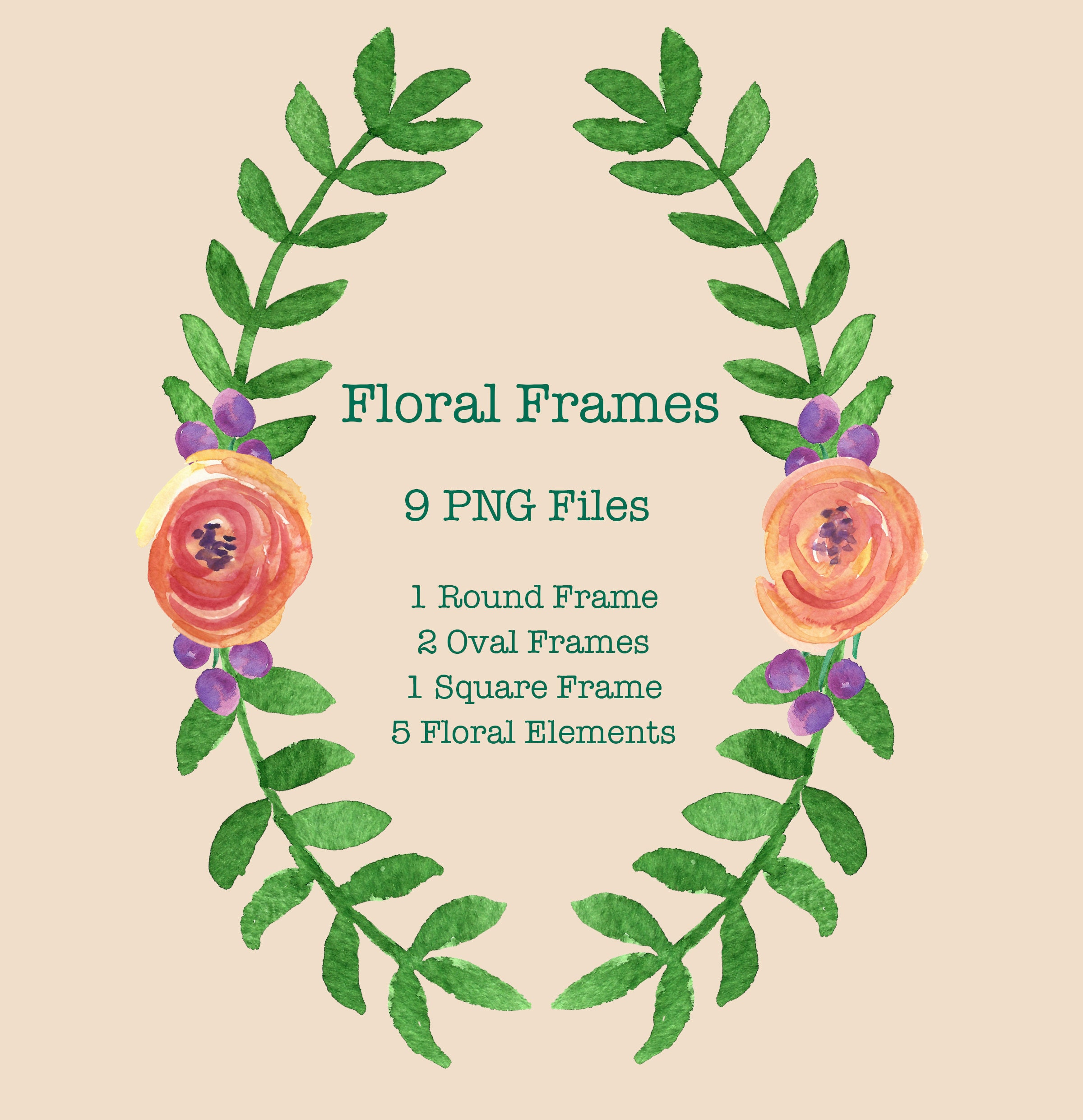 Copper and Peach Floral Frames Clip Art
