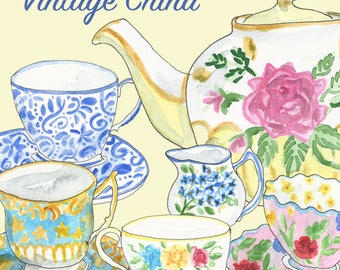 Hand Painted Water Colour Vintage China Clip Art