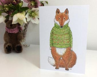 Fox in a Jumper Greetings Card