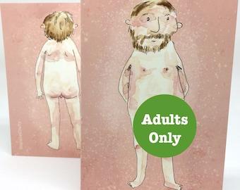 Nude Bearded Man Card