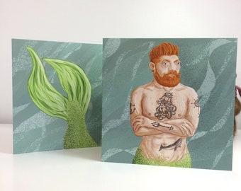 Tattooed Merman Greetings Card