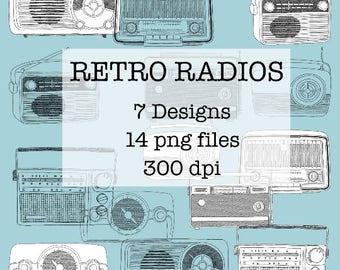 Retro Vintage Radio Drawings