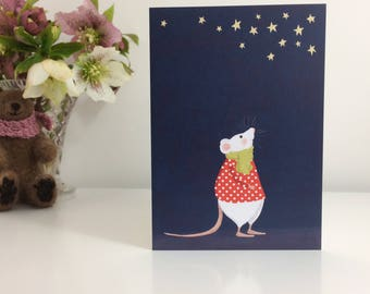 Star Gazing Mouse Greetings Card