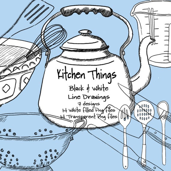 Kitchen Things Digital Line Drawings Etsy