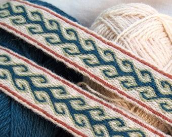Tablet woven trim, wool, viking trim, tablet weaving, tablet weave, woven braid, brettchenborte, viking clothes