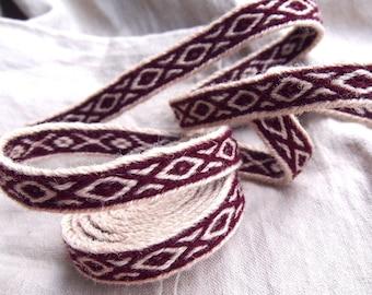 Tablet woven trim, MANY COLOR VARIANTS, woolen viking trim, tablet weaving, tablet weave, woven braid, brettchenborte,