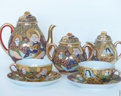 Satsuma moriage tea set. Tea set with polychrome enamels. Japanese moriage porcelain.