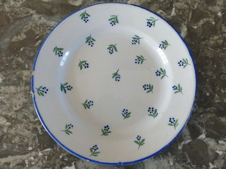Cobalt blue flowers. Lun\u00e9ville earthenware plate French antique plate from the Restoration period 1830-1840