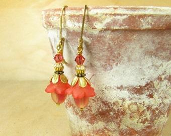 Earrings red FLORET earrings brass handmade vintage style, flowers flowers flower earrings Flower Earrings, red light red spring summer