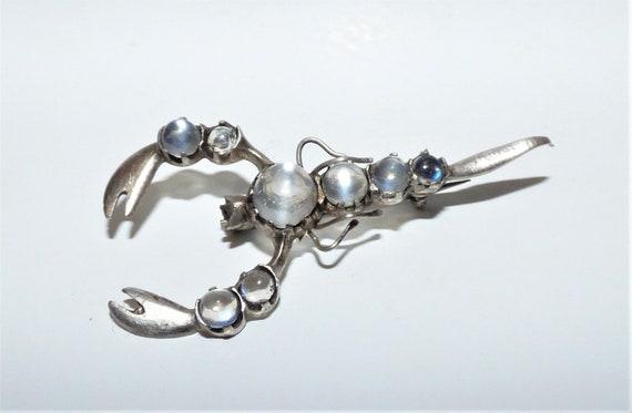 Antique Victorian Silver & Moonstone Scorpion Broo