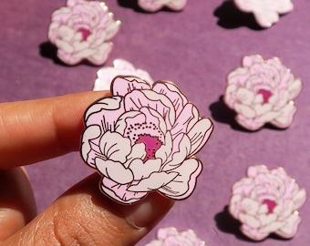 Peonies Enamel Pin / Peony Floral pin, botanical pin, plant pin