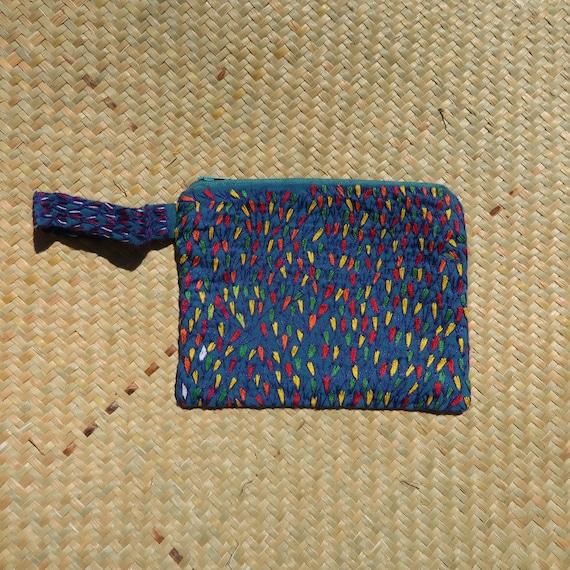 Colourful Small Purse: Handmade Purse Embroidered Madagascar Geometric stars design Artisan African
