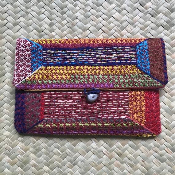 Colourful Embroidered Small Purse: Handmade Madagascar Artisan Geometric stars design African Purse