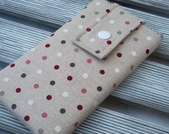 Dots Fabric Smartphone Pouch, Padded phone case, Phone pouch, Fabric phone case, Cell phone cover, gift for her, Women's Phone Sleeve