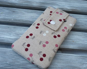 Cherry Cell Phone pouch, Fabric phone case, Cell phone cover, Linen phone pouch, Phone Sleeve, protective Phone case, Birthday Gifts for Mom