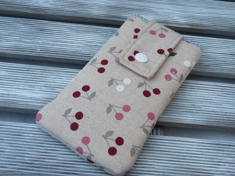 quality design 4e48b cde77 Cherry Cell Phone pouch, Fabric phone case, Cell phone cover, Linen phone  pouch, Phone Sleeve, protective Phone case, Birthday Gifts for Mom