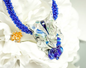 Kumihimo Lampwork Necklace, Blue, Silver Chain