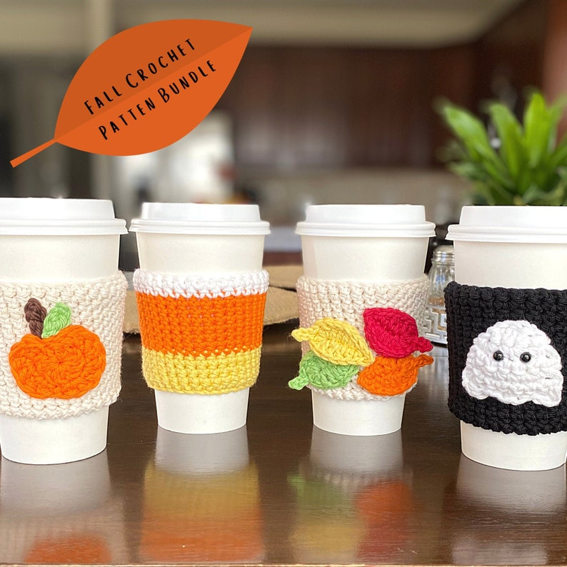 Fall Crochet Pattern Fall Coffee Cozies Cup Cozy Pattern image 1