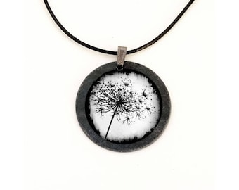 "Slate black and white theme ""Dandelion"" necklace"